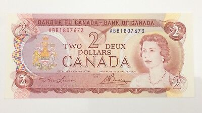 1974 Canada 2 Two Dollar ABB Prefix Canadian Uncirculated Banknote E968