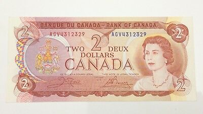 1974 Canada 2 Two Dollar AGV Prefix Canadian Circulated Banknote E970