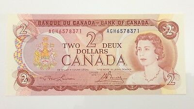 1974 Canada 2 Two Dollar AGH Prefix Canadian Uncirculated Banknote E971