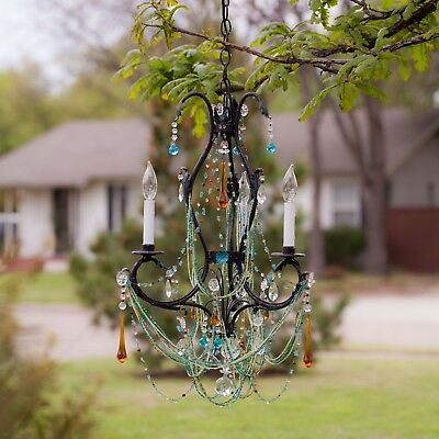 Antique petite iron crystal chandelier 3 lights
