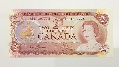 1974 Canada 2 Two Dollar ABB Prefix Canadian Uncirculated Banknote E974