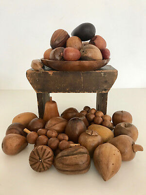 Vintage Wooden Fruit With Bowl, A Large Amount Collected Over Time! Great!