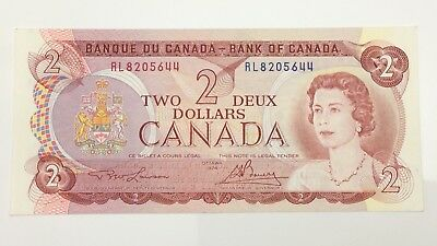 1974 Canada 2 Two Dollar RL Prefix Canadian Circulated Banknote E975