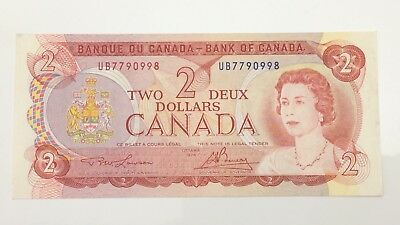 1974 Canada 2 Two Dollar UB Prefix Canadian Circulated Banknote E976