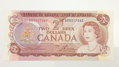 1974 Canada 2 Two Dollar BB Prefix Canadian Circulated Banknote E980