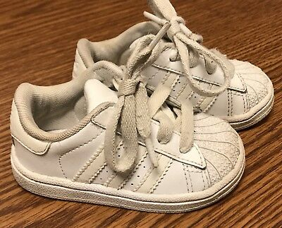 sale retailer 5486a 7bfb2 ADIDAS SUPERSTAR ALL White Shell Toe Unisex Toddler Leather Athletic Shoes  Sz 5C