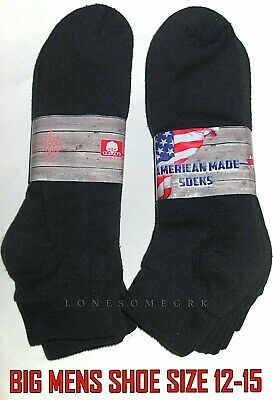 6 Pairs BIG MENS Shoe 12-15 Cotton Lightly Cushioned Black Ankle Socks USA Made