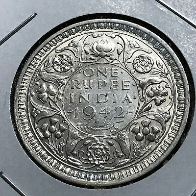 1942 British India Silver One Rupee Higher Grade Coin