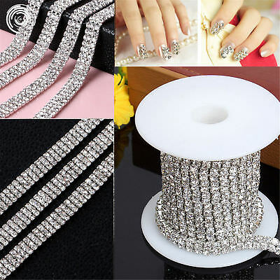 Clear Crystal Rhinestone Diamond Trim Metal Chain Silver 1 2 3 Row / 1/5Yd/SHK