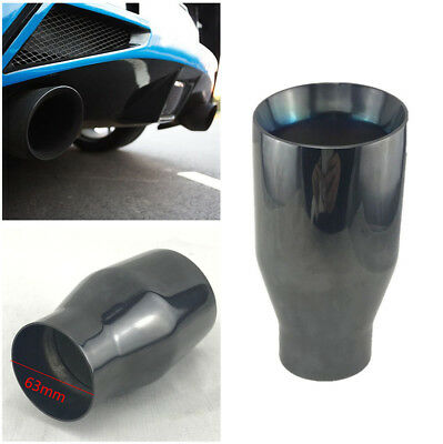 Titan Black Stainless Round Exhaust Tip 2.5 Inch Inlet Angled Muffler Tail Pipe