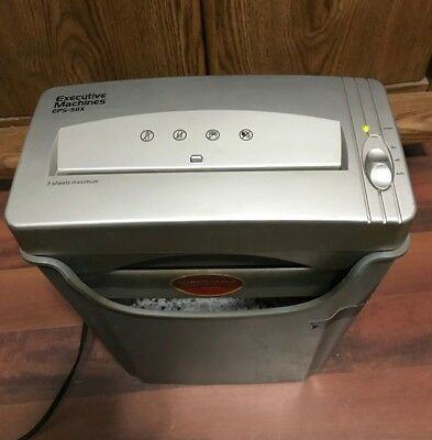 Executive Machines EPS Cross Cut Shredder + PAIL Shreds Paper Credit Cards ETC..