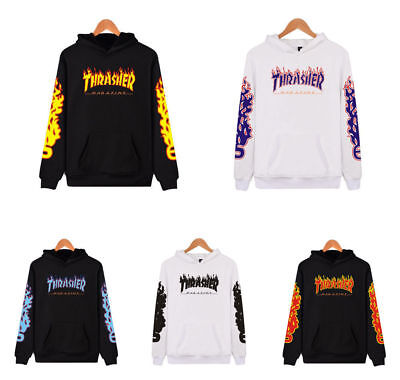 Hot Men & Women Thrasher Flame Pullover Hoodie Sweaters Skateboard Sweatshirts