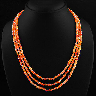 Top Class 166.55 Cts Natural 3 Line Rich Orange Carnelian Faceted Beads Necklace