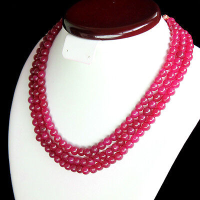 Very Beautiful Fashion 577.00 Cts Natural 3 Strand Red Ruby Round Beads Necklace