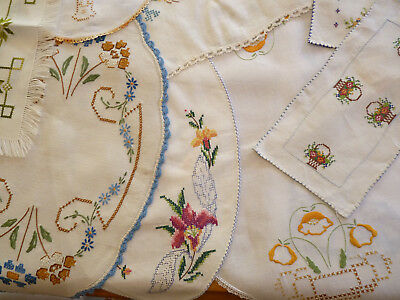BULK LOT of Vintage Hand Embroidered Linen A CELEBRATION OF CROSS-STITCH