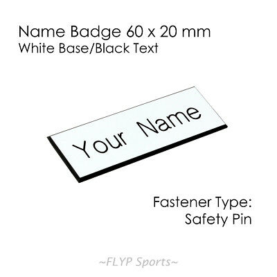 Name Badge Tag WHITE/BLACK Personalised Engraved Customised Safety Pin 60x20mm