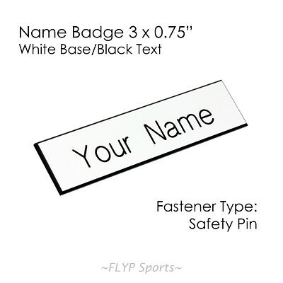 """Name Badge Tag Plate White/Black Safety Pin 3x0.75"""" Personalised Engraved Cus..."""