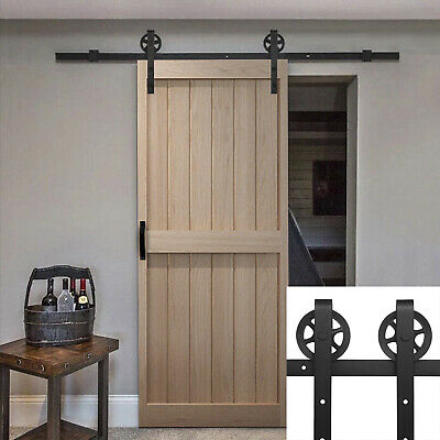 6.6 FT Sliding Barn Door Hardware Roller Track Rail Kit Closet Country Style