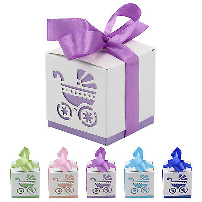 10Pcs Laser Cut Carriage/Foot Baby Shower Table Decor Candy Boxes Favor Gift UK