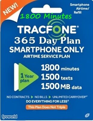 TracFone Refill 1 Year 1500/min/text/data BYOP & Smartphones 365day Service Plan