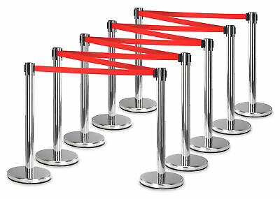 10x Crowd Control Barrier Security Post Extractable Belt Disco Bouncer Airport