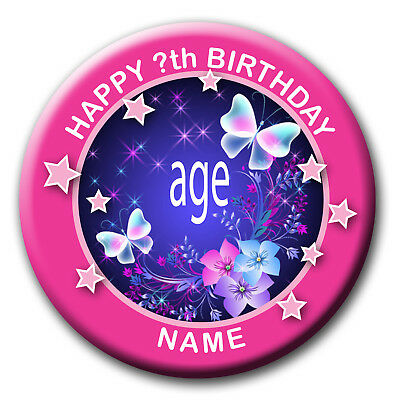 Personalised Pink Butterfly Birthday Badge / Magnet / Mirrors