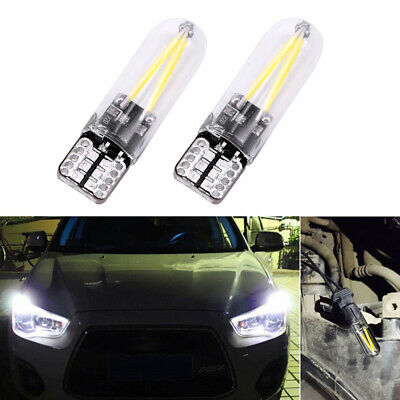 2 x White T10 194 168 W5W COB LED CANBUS Glass License Plate Light Bulb 12V -24V
