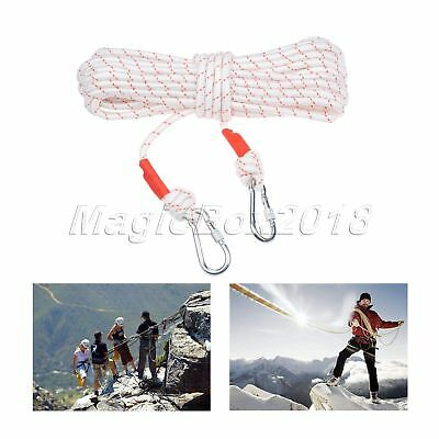 White Polyester 65.6ft Rock Climbing Safety Rappelling Rope Auxiliary Cord Sling