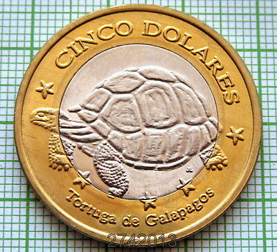 Galapagos Islands 2008 5 Dollars Probe Coin, Galapagos Turtle, Unc