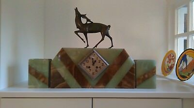 Art Deco Marble Clock With Stag Decoration And Garnitures