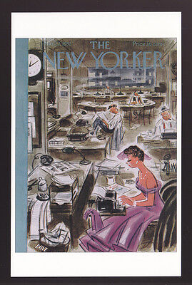 THE NEW YORKER MAGAZINE COVER ART POSTCARD March 1952 Leonard Dove Working Woman
