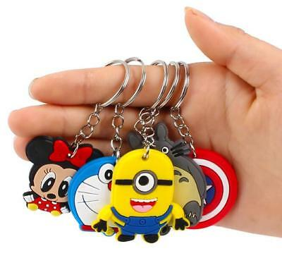 Mix 5PCS Silicone Cute Cartoon Key Chains Cap Keyring/Phone Keychain Kid's Gift