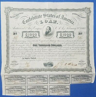 1863 - $1000 Confederate States Bond – Criswell 122, Ball 241