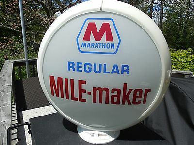 ORIGINAL 1950's MARATHON GAS PUMP GLOBE W/ NOTCHED LENSES EXTREMELY RARE LOOK !!