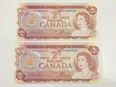 1974 Canada 2 Two Dollar UG Prefix 2 Consecutive Uncirculated Banknote E983