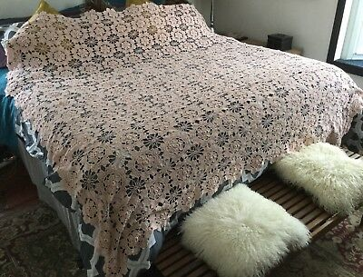 "Vintage Antique Large 80""x86"" Handmade Crocheted Cotton Pink Bed Cover Throw"