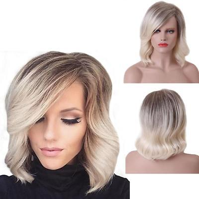 Bobo Type Heat Resistant Short Hair Curly Wig Gradient Color Cosplay ED #F
