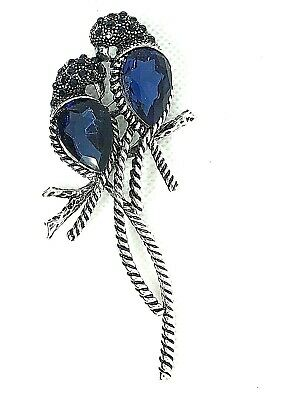 Love Birds Brooch pin blue rhinestones silver tone mothers day prize GIFT #1