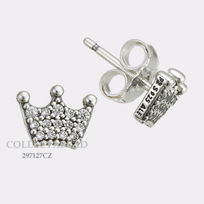 Authentic Pandora Sterling Silver Enchanted Crowns CZ Stud Earring 297127CZ