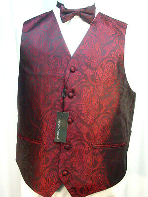 Old West Vest Victorian Style Burgundy and Black paisley pattern 2 ties included