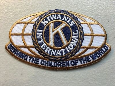 "Kiwanis International Serving Children High-Quality Patch 4"" X 2.25"" White"