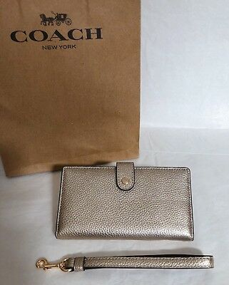 c1dcecea151b ... promo code for nwt coach platinum phone wristlet wallet 23527 metallic  gold bifold snap new 99