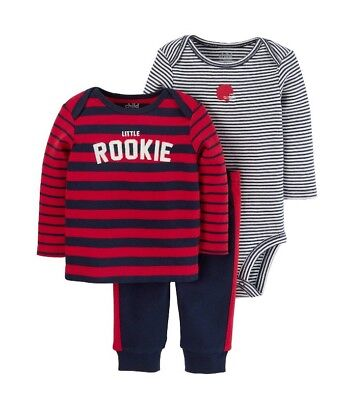 Child of Mine by Carters Boy 3-Piece Outfit Red Navy 'Little Rookie' Newborn