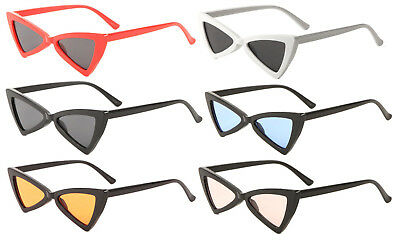 7204ac8e5 Pussycat Bold Thick Plastic Frame Sunglasses Triangular Cat Eye Retro  Womens Vtg