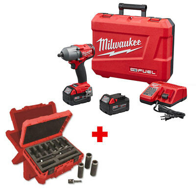 "Milwaukee 2860-22 M18 FUEL Mid-Torque 1/2"" Impact Wrench with 9PC Socket Set"