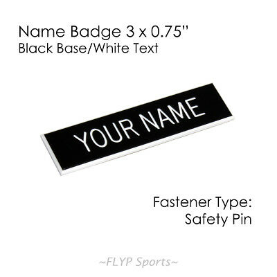 """Name Badge Tag Plate Black/White Safety Pin 3x3/4"""" Personalised Engraved Cust..."""