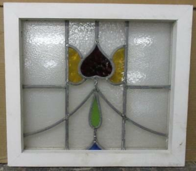 "OLD ENGLISH LEADED STAINED GLASS WINDOW Nice Floral 17.25"" x 15.25"""