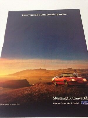 Ford Mustang XL Convertible Magazine Ad 1990/1991