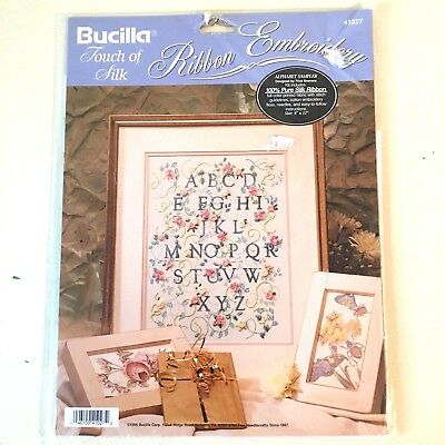 Bucilla Touch of Silk Ribbon Embroidery Kit Alphabet Sampler Roses 41027 9 x 12