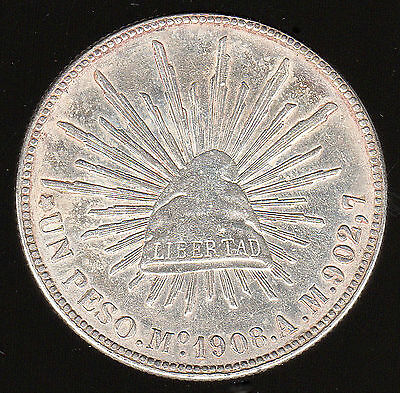 MEXICO- 1908 Mo. A.M. SILVER PESO KM-409.2 ABOUT EXTREMELY FINE